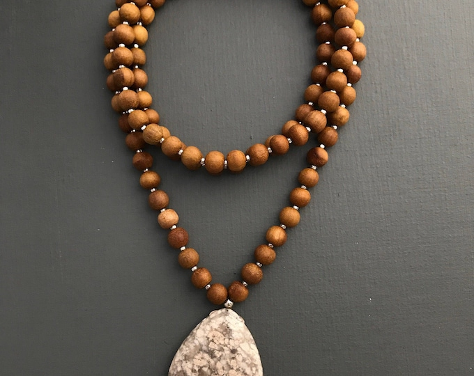 sandalwood and agate 108 bead mala long necklace