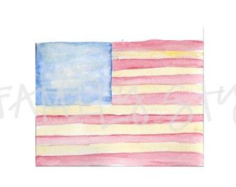 Watercolor American Flag Clipart