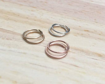 Rose gold septum jewelry, 20g tragus, Cartilage hoop earring, Gold earrings, Hoop nose ring, Sterling silver daith piercing jewelry set, 22g