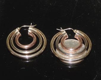 Vintage Estate 14K Tri-Tone Gold Triple Hoop Earrings 6.20 Grams 33mm or 1.25 Inches