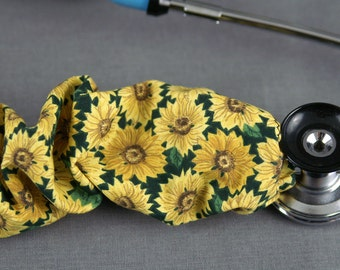 Stethoscope Cover Sunflowers   Floral Print stethoscope Cord cover   RN Nurse Doctor Gift   Stethoscope Sock   Stethoscope Accessories
