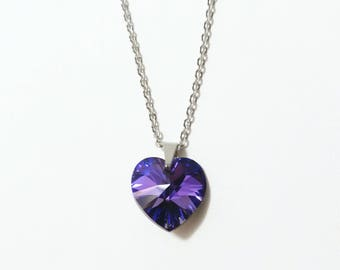 Swarovski Crystal Purple Heart Stainless Steel Short Necklace