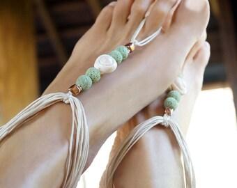 Beach Wedding Barefoot Sandals, Boho Wedding Barefoot Sandals, Lagoon Mood Shell Bridal Sandal, 1 Pair