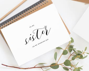 To My Sister On My Wedding Day Card - To My Sister Wedding Card, Wedding Stationery, To My Sister Thank You Wedding Card, Wedding Note, K10