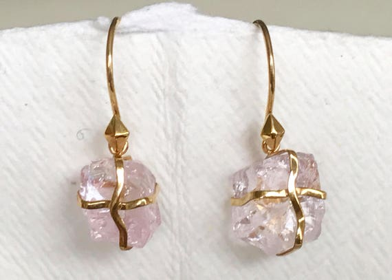 Untreated morganite crystal and solid 18k gold earrings