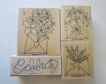 4 rubber stamps - Send a CELEBRATION - Stampin Up 2006