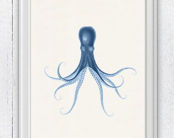 Blue octopus nº29  sea life poster print wall decor-Octopus WALL ART- illustration art print Octopus print house decor SAS154