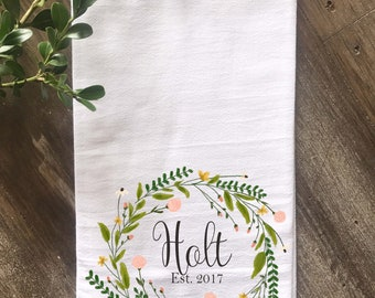 Personalized Flour Sack Tea Towel, Farmhouse Kitchen Towel,  Custom Tea Towel, Wedding Gift, Anniversary Gift, Housewarming Gift