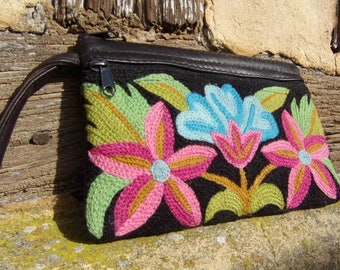 "Kashmir pretty Crewel Embroidered  Purse 7 1/2"" x 5""  Hand made 13 x 9 cm"