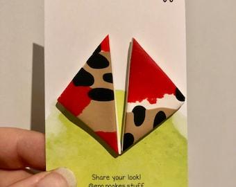 Poppy fields large triangle stud earrings