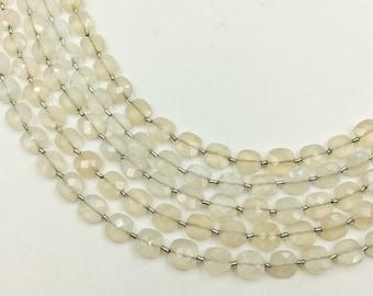 "White Moonstone Checker Beads 8-9 mm (ONE 8"" Strand)"