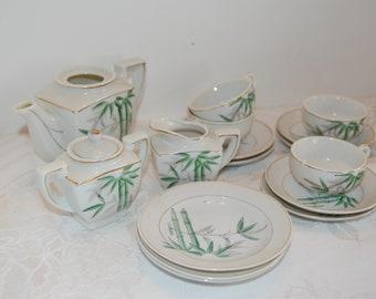 Vintage Child's Tea Set, China Play Set, Doll Tea Service, Bamboo China Set, 4 Cups, 6 Saucers, 3 Plates, Creamer, Sugar Bowl, Tea Pot