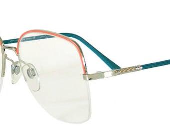 Vintage 1980s Orange and Teal Blue Eyeglass Frames Never Used