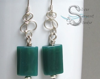 Green Agate Earrings - sterling silver, wire wrapped, long earrings, colorful, vibrant, rectangle beads