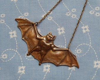 Large Bat Flying Wings Antique Brass Pendant Necklace