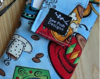 Coffee Klatch Iphone Galaxy Cell Phone Ipod Zipper Pcoket  Padded Wristlet  Sleeve Key Fob Case Front Pocket Washable