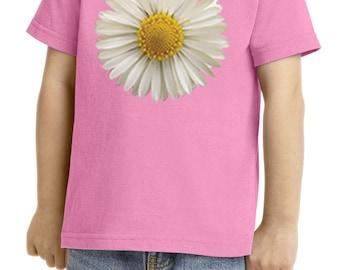 Toddler's Flower Shirt White Daisy Tee T-Shirt DAISY-CAR54T