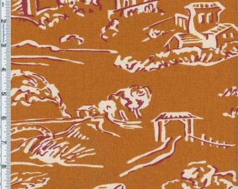 Burnt Gold Village Toile Print Home Decor Cotton, Fabric By The Yard