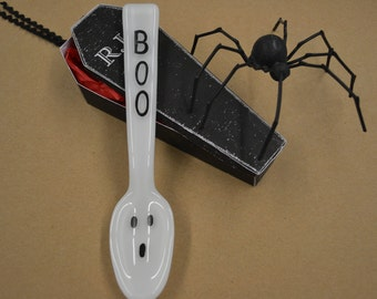 Halloween Spoon, Ghost Spoon, Fused Glass, Glass Spoon, Teaspoon, Halloween Party, Hand Painted, Serving Utensils
