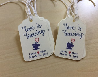 Love is brewing Favor Tags,Tea Favor Tags,Coffee Favor Tags