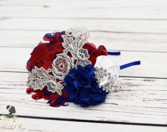4th of July Headband - Adult Headband - Red White and Blue Headband - Patriotic Hair Piece - Feather Headband - Vintage Style Hair Accessory