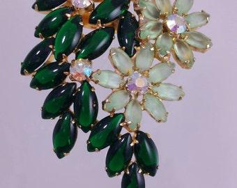 Vintage Green Rhinestone and Glass Flower Brooch Spray Pin with Aurora Borealis Rhinestones, Green Glass Brooch, Big Flower Pin, 1950's