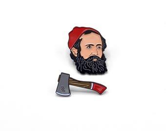 Lumberjack Hipster + Hatchet Enamel Pin