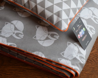 Woodland NEW 100% COTTON Cot Bed Duvet Cover Set Grey & White orange piping my little friend fox