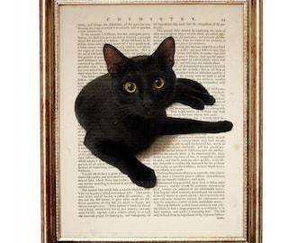 Cat Lover Gift, Black Cat Lover Gift, Black Cat Gift, Black Cat Art, Cat Decoration, Cat Print, Cats Art, Dictionary art, Cat Artwork Black