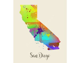 San Diego Art City Art Wall Decor Unique Watercolor Map Cool Map Typography Gift State Map Poster