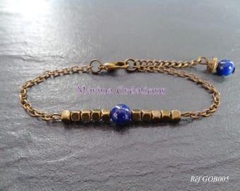 Curb chain / dainty bronze thin Bracelet: lapis lazuli solitaire and bronze cubes GOB005