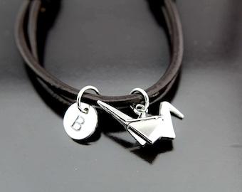 Origami Crane Bracelet Silver Paper Crane Charm Bracelet Paper Crane Charm Personalized Bracelet Initial Charm
