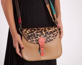 Leather Bag with leopard Flap