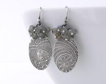 Labradorite Earrings Boho Earrings Silver Earrings Gray Gemstone Cluster Earrings Unique Handmade Jewelry - Lily