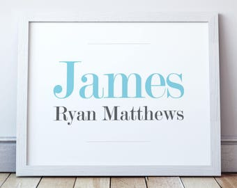 Blue Baby Name Sign (Print)