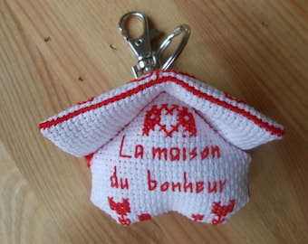 embroidered red 3D house shaped keychain