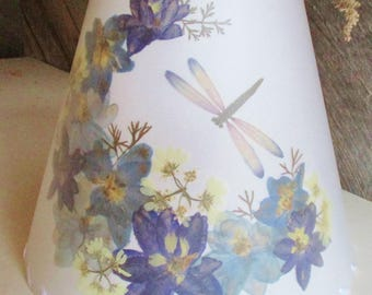 Pressed Flower Lamp Shade, Botanical Lampshade with Blue Delphinium, Blue Floral Lampshade, Dragonfly Lamp Shade, Custom Size Lamp Shade