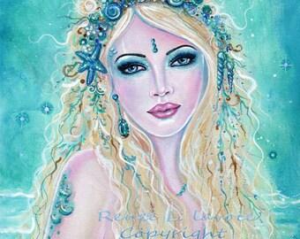 Sherella fantasy Mermaid MRMD ocean seashells print by Renee L. Lavoie
