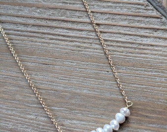 Pearl Bar Necklace. Tiny Freshwater Pearls. White Pearls.Delicate Gold Necklace