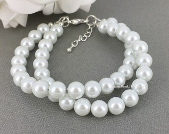 White Bracelet Bridesmaid Bracelet Twisted Bracelet Bridesmaid Gift for Her Bridal Party Wedding Jewelry Maid of Honor Gift Idea