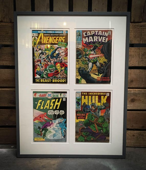 Set of Framed Marvel and DC Comics