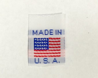 100 MADE IN U.S.A. American Flag Woven Garment Sewing Tabs, Labels, Tags