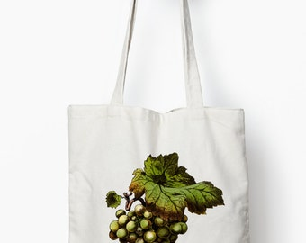 Grapes tote, Wine tote bag, canvas tote bag, reusable shopping bag