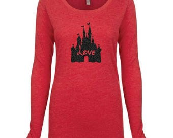 Love Cinderella Castle Logo Long Sleeve Top T-shirt - Personalized - TriBlend Scoop Neck