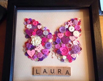Button Butterfly and Scrabble Name