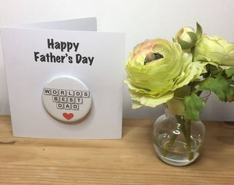 Fathers Day card, Card with Badge, Badge for Dad, Fathers Day, card for Dad, Fab Dad, I love Dad, Worlds Best Dad