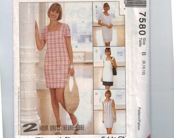 Misses Sewing Pattern McCalls 7580 Misses Slim Sheath Dress Scoop Neck Petite Option Size 8 10 12 UNCUT  99