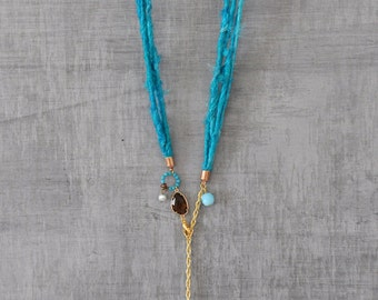 Rustic Tribal Topaz Quartz Necklace,  Sari Silk Wrap Necklace,  Bohemian Spirit necklace with an Aqua Blue Swarovski