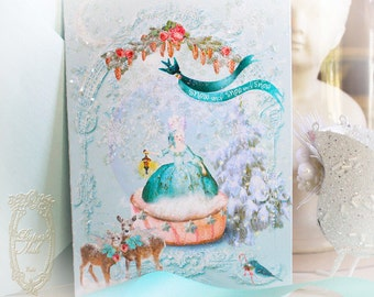 "Marie Antoinette Christmas Woodland Snowglobe Set of 5 x 7"" Folding Cards Set of 6 with Aqua Shimmer Envelopes"