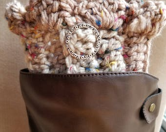 Womens Boot Cuffs,Crochet Boot Cuffs, Boot Toppers, Ankle Warmers  w/silver Circle charm